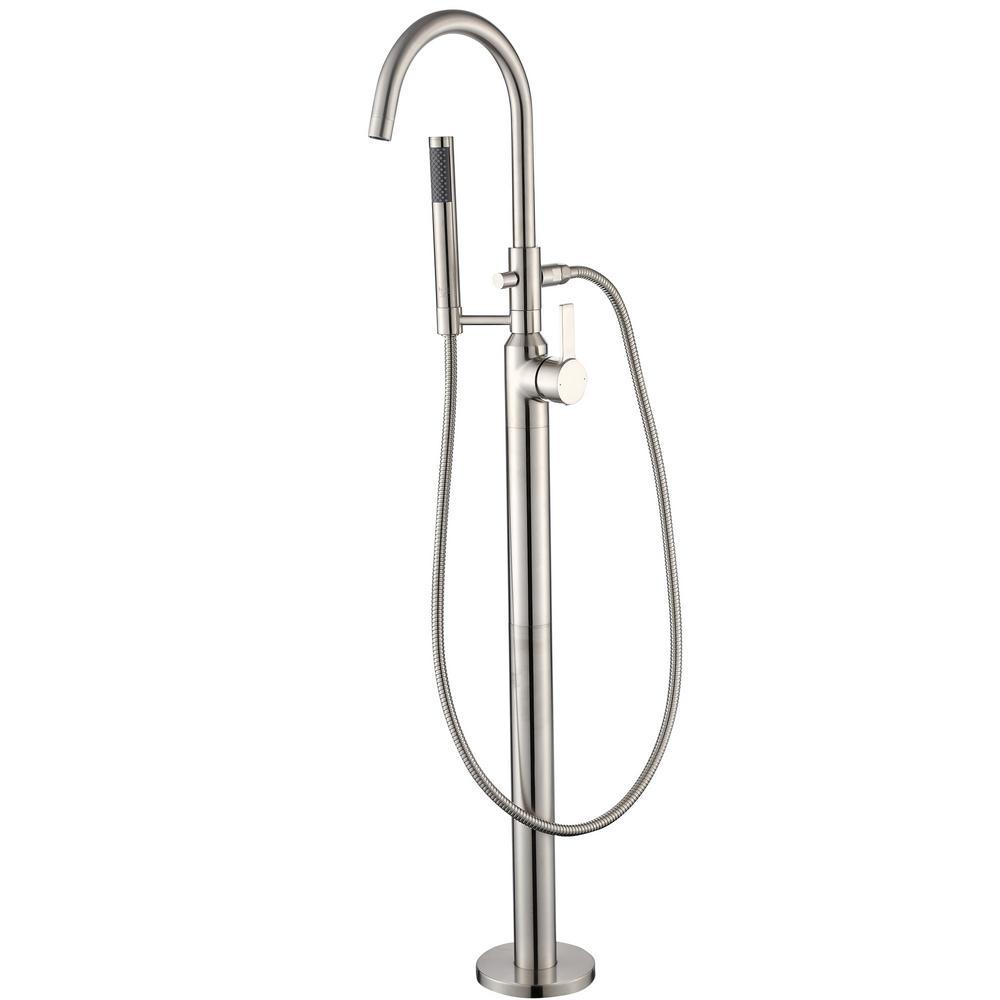Modern Freestanding Single-Handle Floor-Mount Roman Tub Faucet Filler with Hand Shower in Brushed Nickel