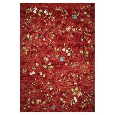 Dainty Flower Red 5 ft. x 8 ft. Area Rug