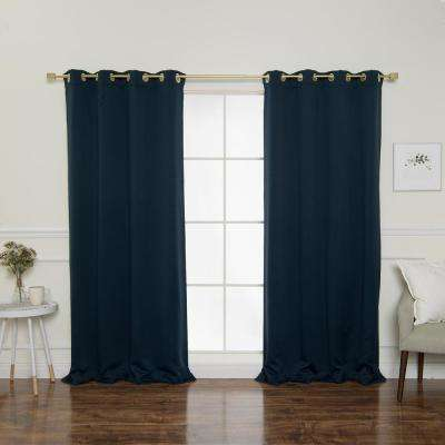Gold Grommet 84 in. L Triple Weave Blackout Curtain Panel in Navy (2-Pack)