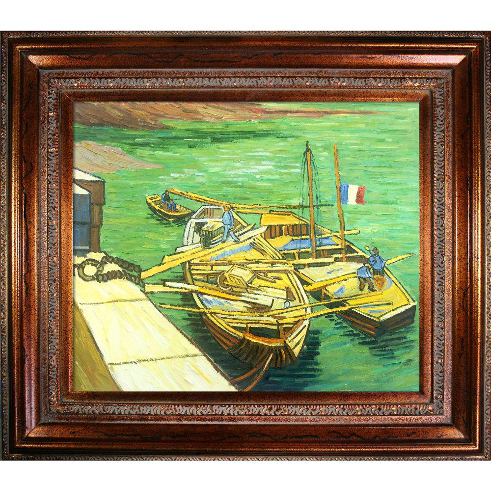 LA PASTICHE Boats Du Rhone with Mediterranean Bronzeby Vincent Van Gogh Framed Abstract Wall Art 30 in. x 34 in., Multi-Colored was $1297.0 now $502.56 (61.0% off)