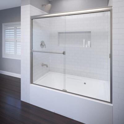 Classic 60 in. x 57 in. Clear Semi-Frameless Sliding Tub Door in Brushed Nickel