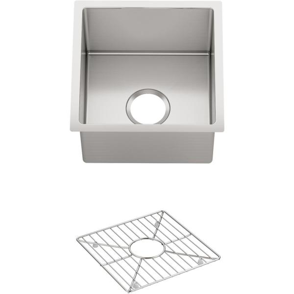 Strive Undermount Stainless Steel 15 in. Single Bowl Bar Sink Kit with Bowl Rack