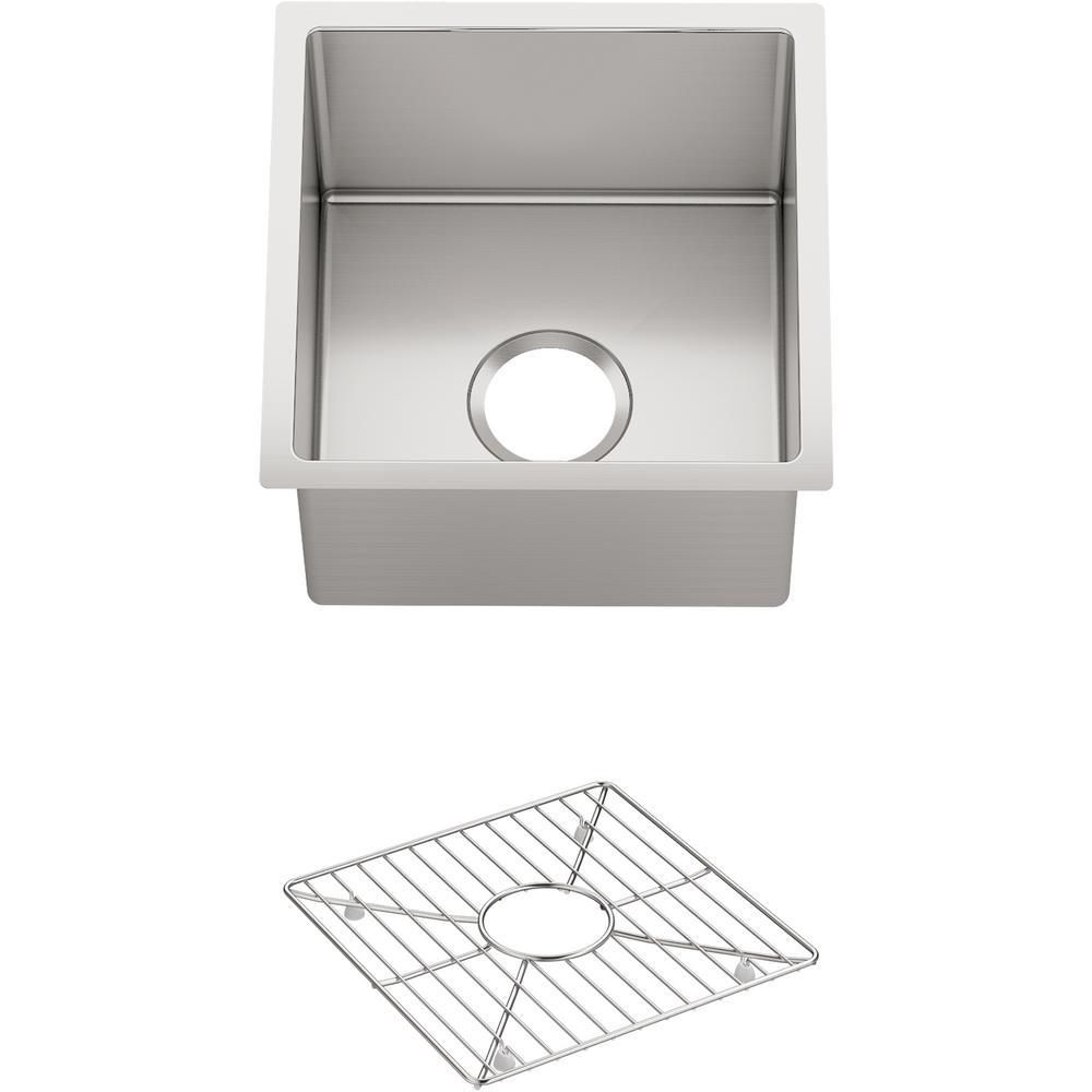 KOHLER Strive Undermount Stainless Steel 15 in. Single Bowl Bar Sink Kit with Bowl Rack