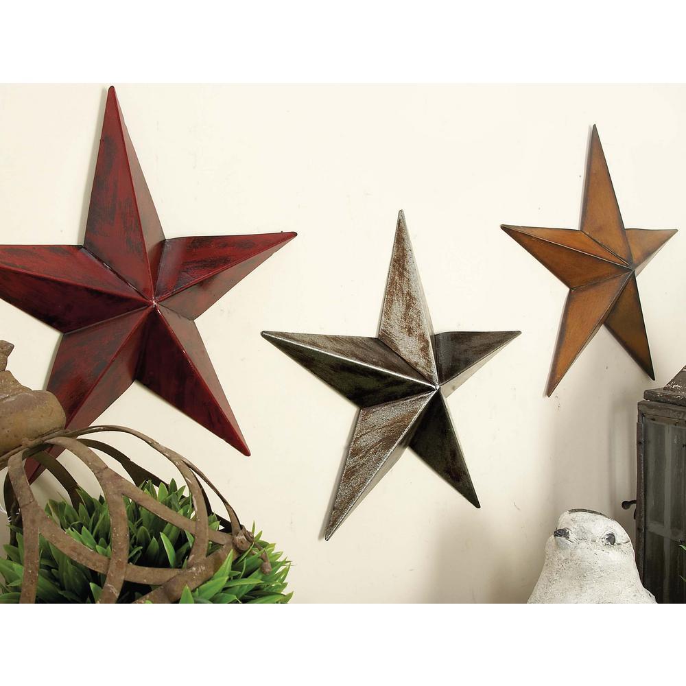 Litton Lane Litton Lane White, Red and Orange Iron Barn Star Wall Sculptures (Set of 3), Multi