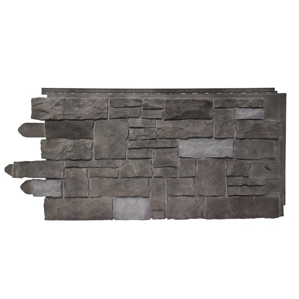 20.25 in. W x 45 in. Artisan Cut Polymer Stone Panel in Ash