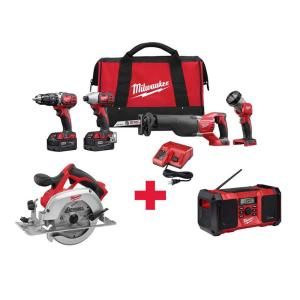 Milwaukee M18 18-Volt Lithium-Ion Cordless Combo Kit (4-Tool) with Free M18 6-1/2 inch Circ Saw and M18 Radio by Milwaukee