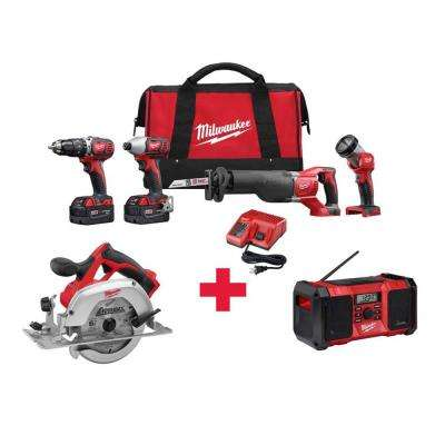 M18 18-Volt Lithium-Ion Cordless Combo Kit (4-Tool) with Free M18 6-1/2 in. Circ Saw and M18 Radio