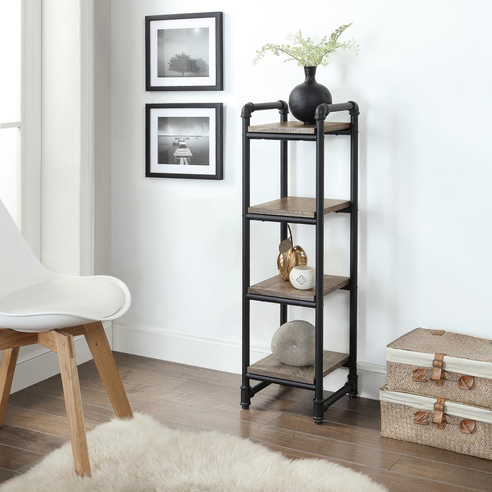 Neu Home Manchester Industrial 12 In W X In D Gray And Black 4 Tier Decorative Shelf