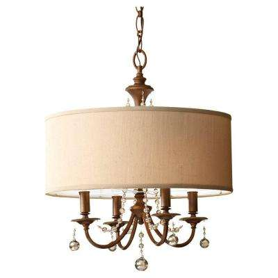 Clarissa 4-Light Firenze Gold Large Pendant with Fabric Shade