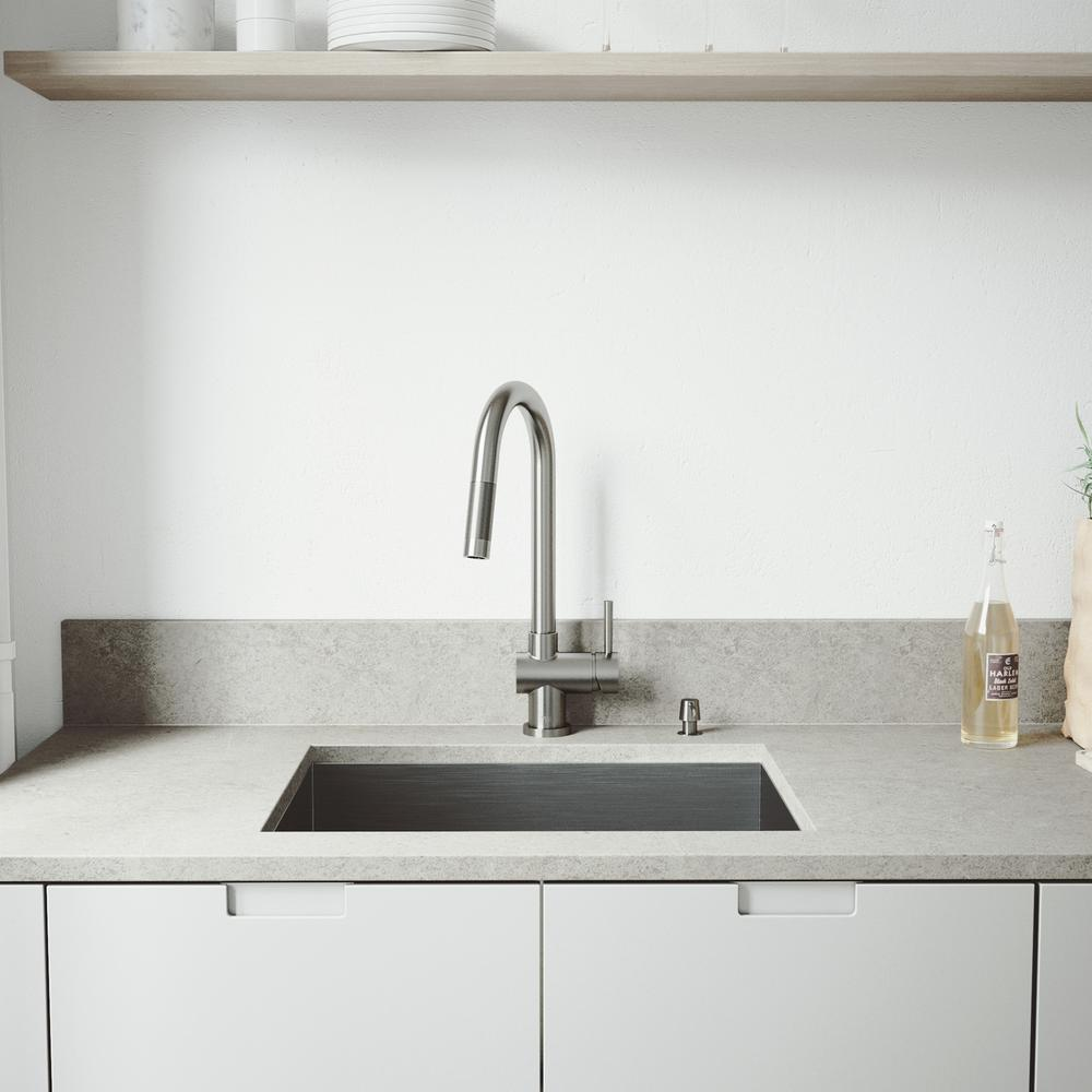 VIGO All-in-One Undermount Stainless Steel 23 in. Single Bowl Kitchen Sink with Pull Down Faucet in Stainless Steel, Satin was $549.9 now $398.9 (27.0% off)