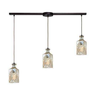 Titan Lighting Giovanna 3-Light Linear Bar in Oil Rubbed Bronze with Champagne Plated Decanter Glass Pendant