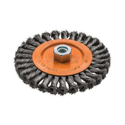 6 in. W Wheel Brush with Knot-Twisted Wires 5/8 in. - 11 in. Arbor