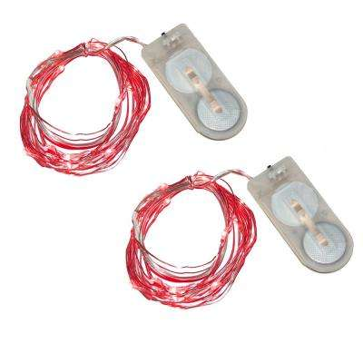 40-Light Mini Battery Operated Waterproof String Lights in Red (2-Count)