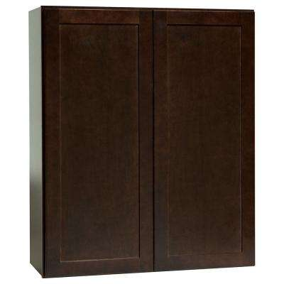 Shaker Assembled 30x36x12 in. Wall Kitchen Cabinet in Java