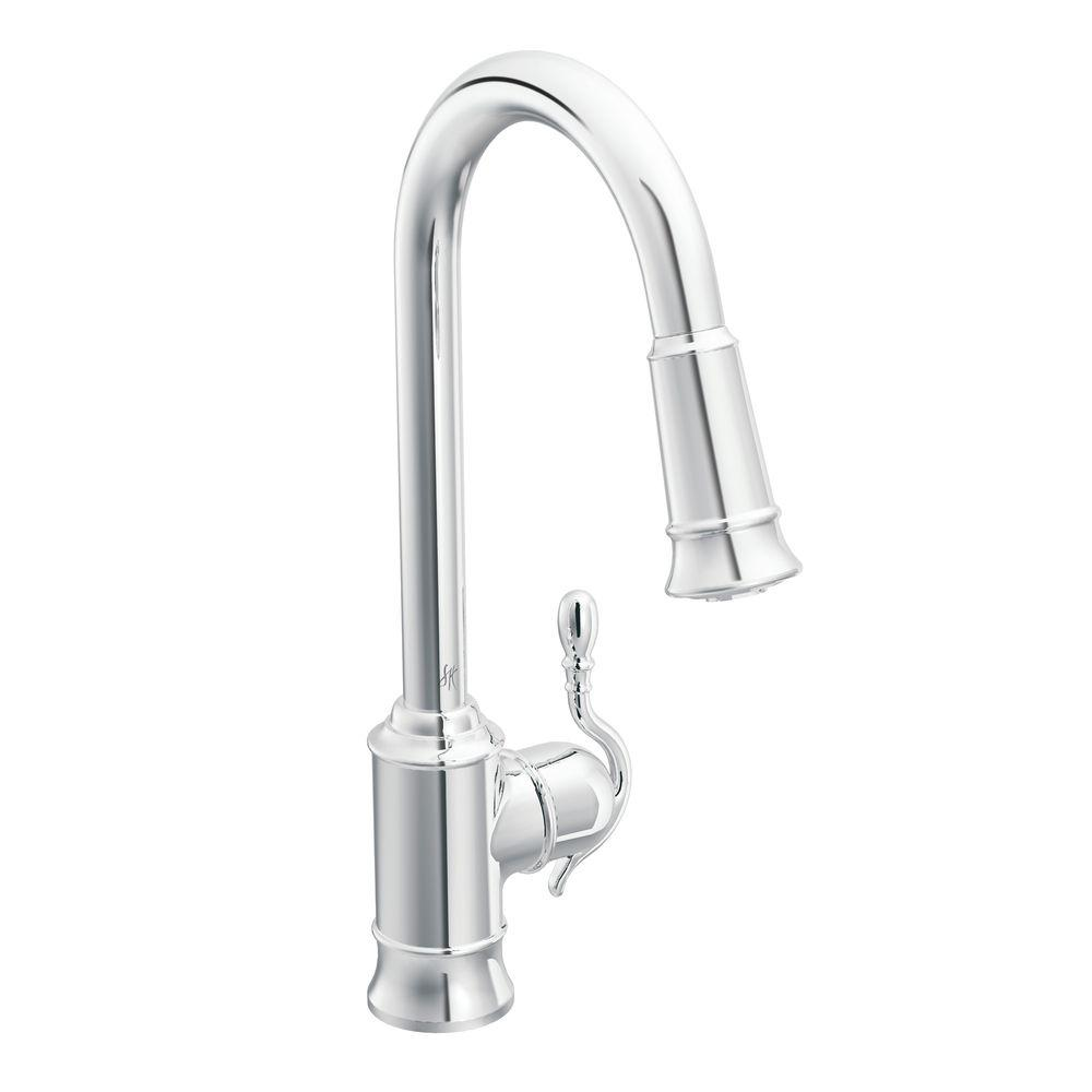 moen pull out kitchen faucets moen woodmere single handle pull sprayer kitchen 25251
