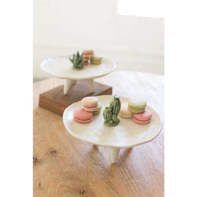 White Ceramic Decorative Platter With Cactus Detail