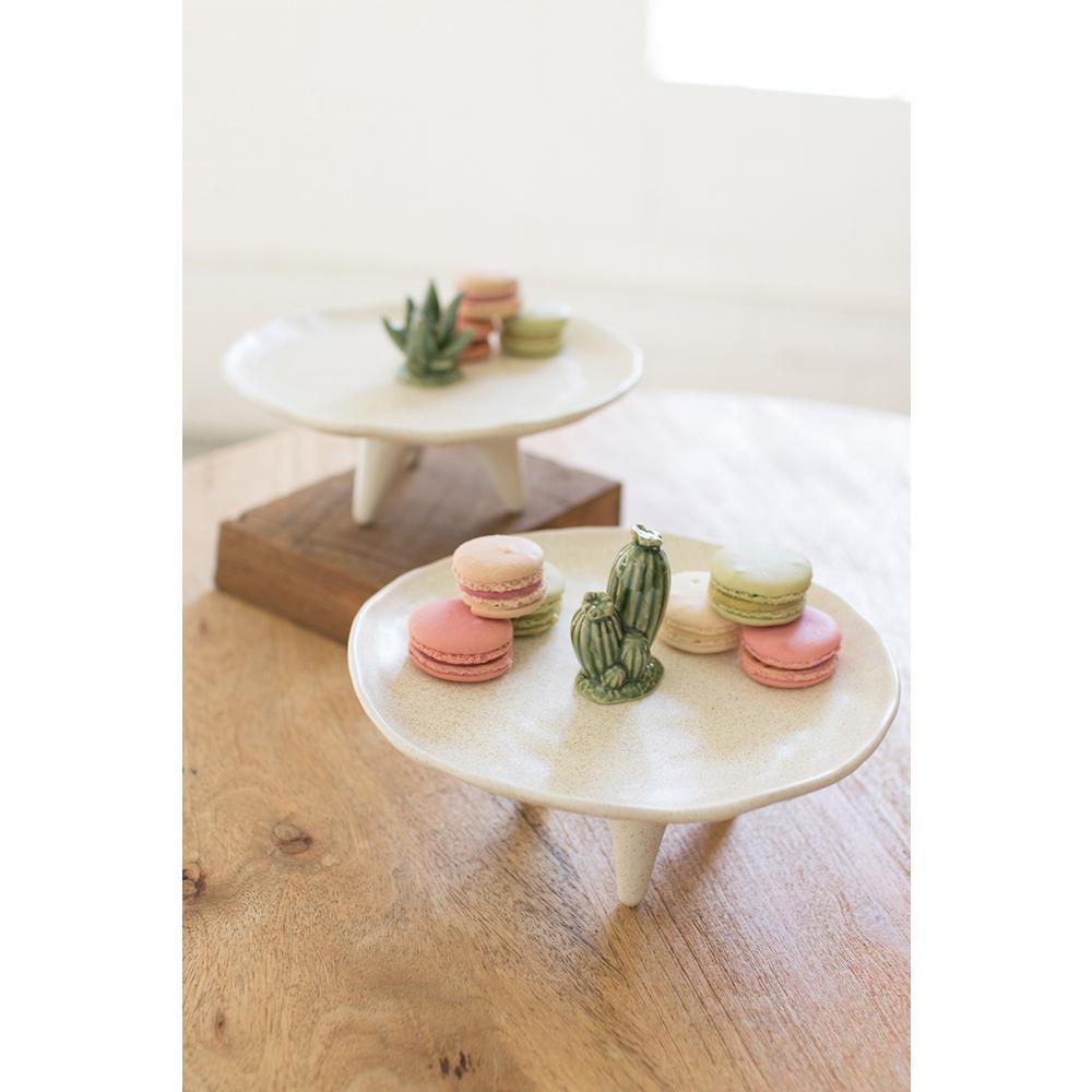 White Ceramic Decorative Platter with Cactus Detail