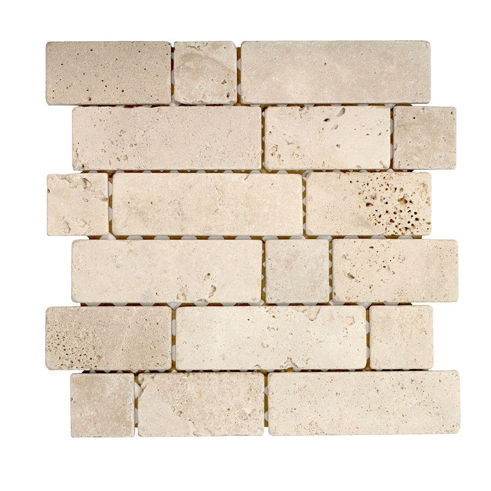 Jeffrey Court Light Block 12 in. x 12 in. x 8 mm Travertine Mosaic Wall Tile