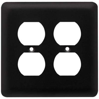 Stamped Round Decorative Double Duplex Outlet Cover, Flat Black
