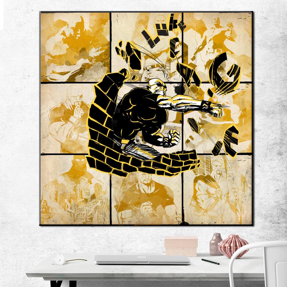 Luke cage watercolor printed canvas wall