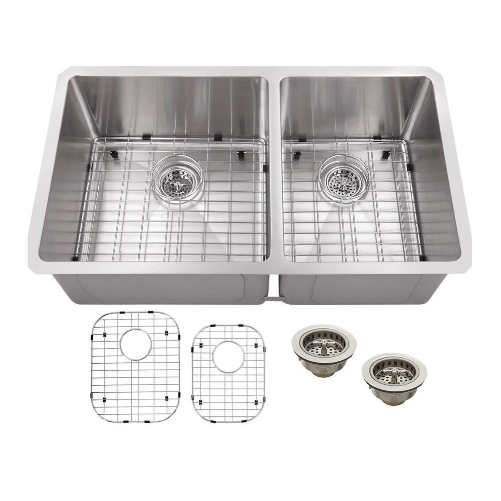 Schon Undermount Stainless Steel 32 in. Double Basin Kitchen Sink