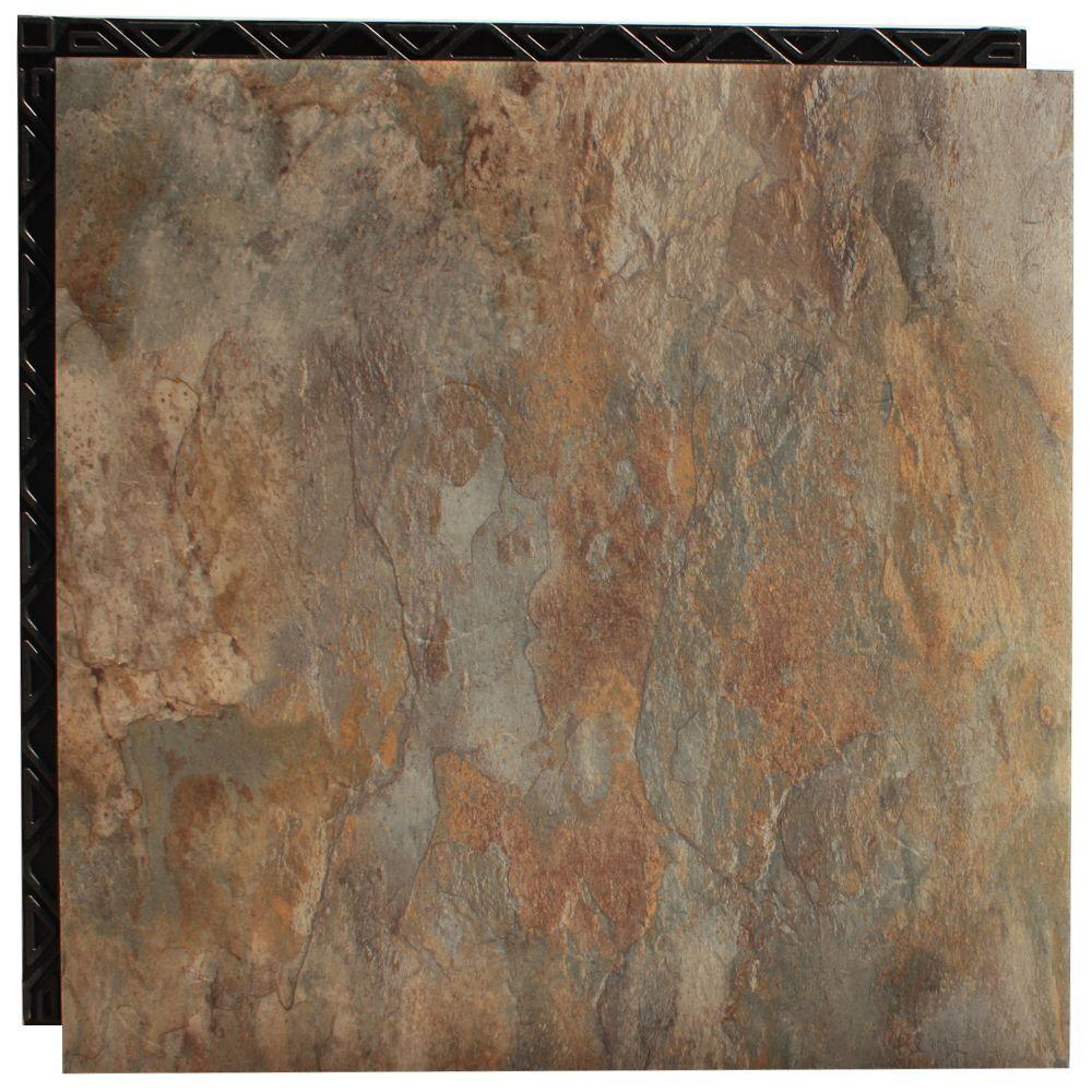 Ocean Shale 18.5 in. x 18.5 in. Interlocking Waterproof Vinyl Tile with Built-in Underlayment (19.04 sq. ft. / case)