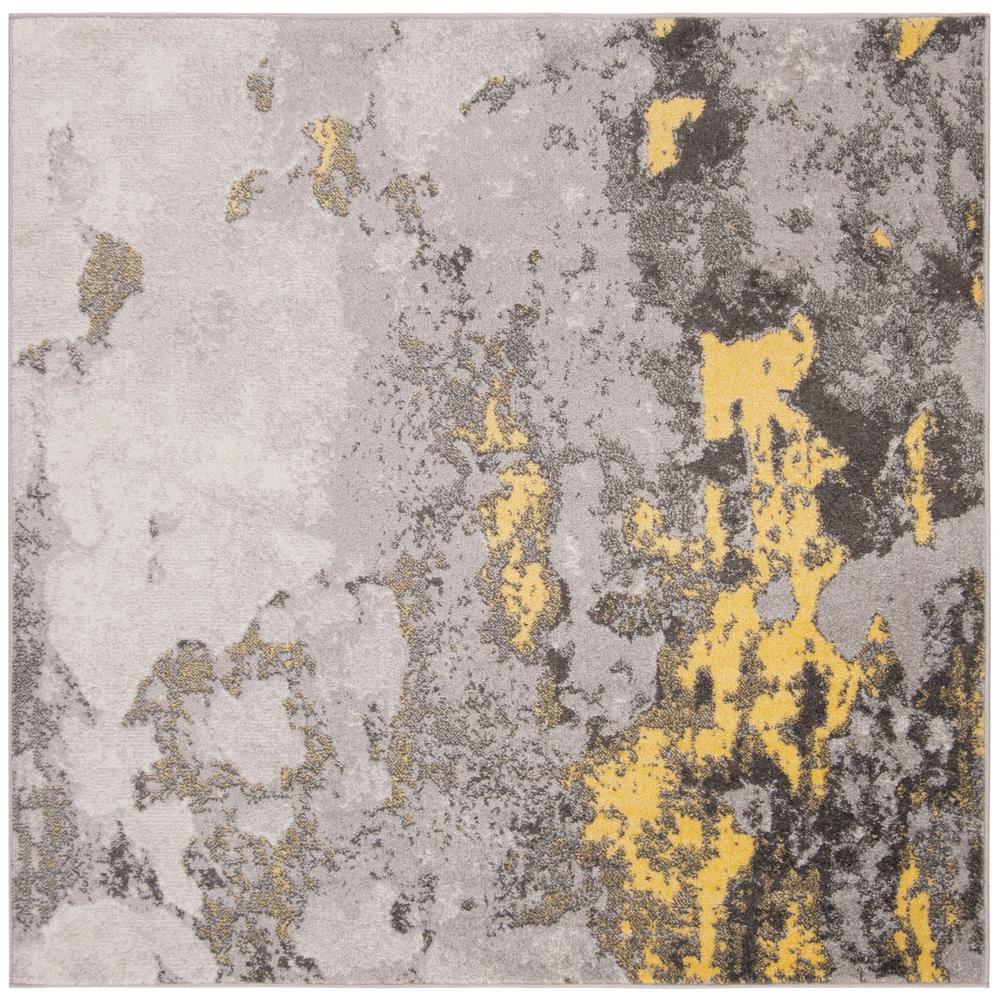 Adirondack Gray/Yellow 8 ft. x 8 ft. Square Area Rug