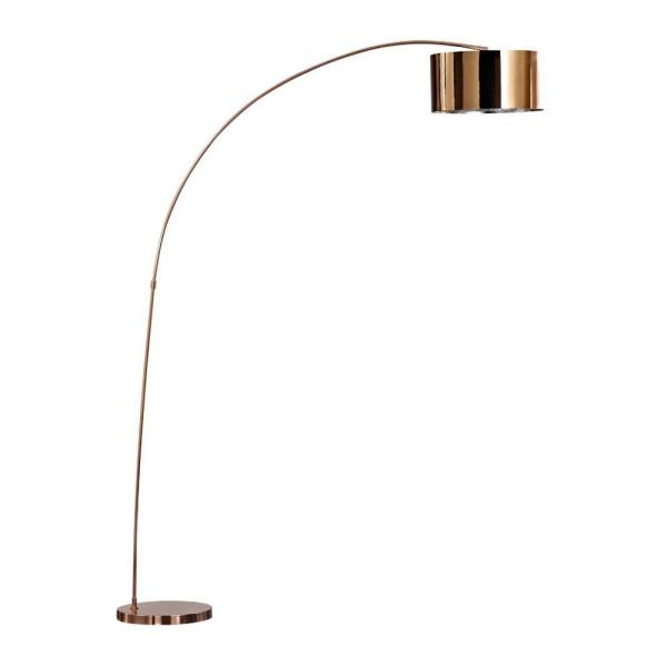 Adelina 81 in. Rose Copper LED Arched Floor Lamp