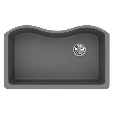 Quartz Classic Undermount Composite 33 in. Rounded Single Bowl Kitchen Sink in Greystone