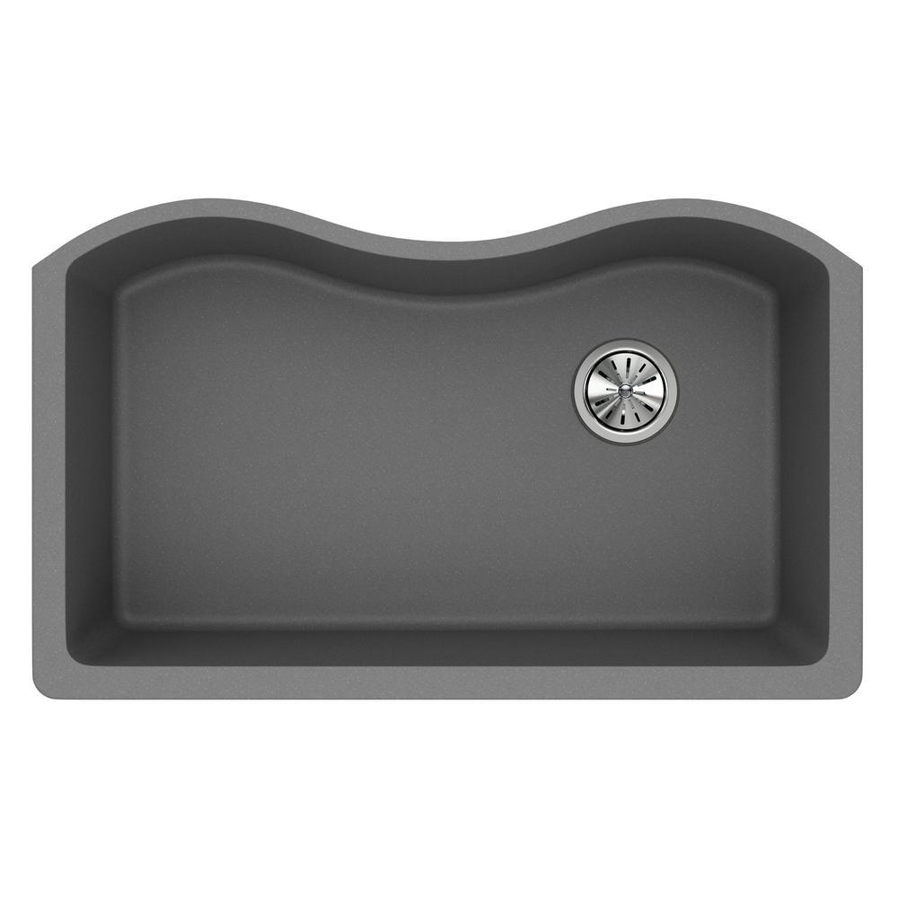 Quartz Classic Undermount Composite 33 in. Single Bowl Kitchen Sink in Greystone