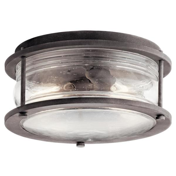 Ashland Bay 2-Light Weathered Zinc Outdoor Flush Mount Light with Clear Seeded Ribbed Glass