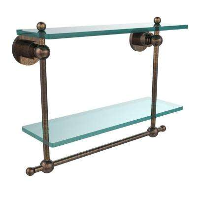 Astor Place 16 in. L  x 12 in. H  x 5 in. W 2-Tier Clear Glass Bathroom Shelf with Towel Bar in Venetian Bronze