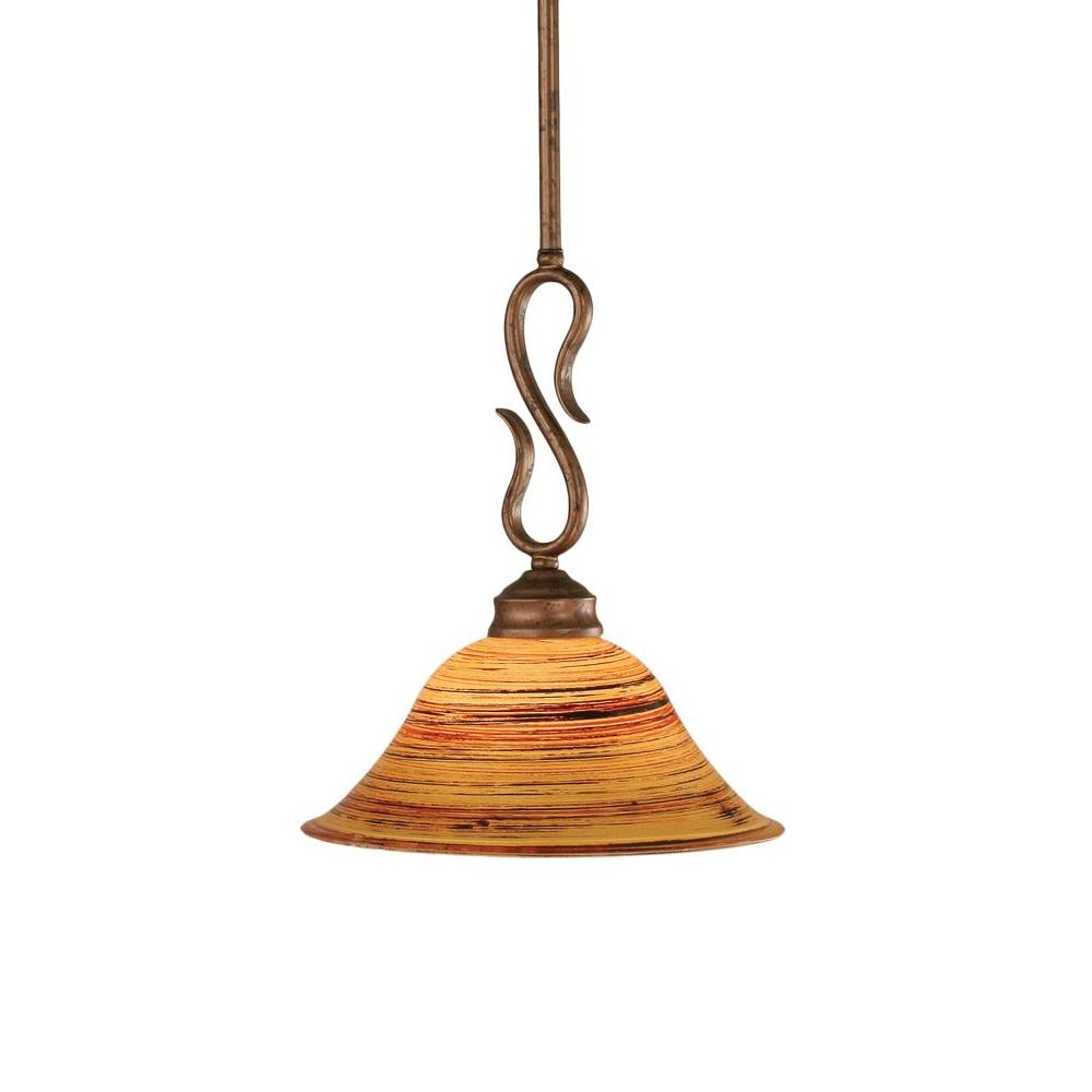 Albers 1-Light Bronze Pendant with Firre Saturn Glass