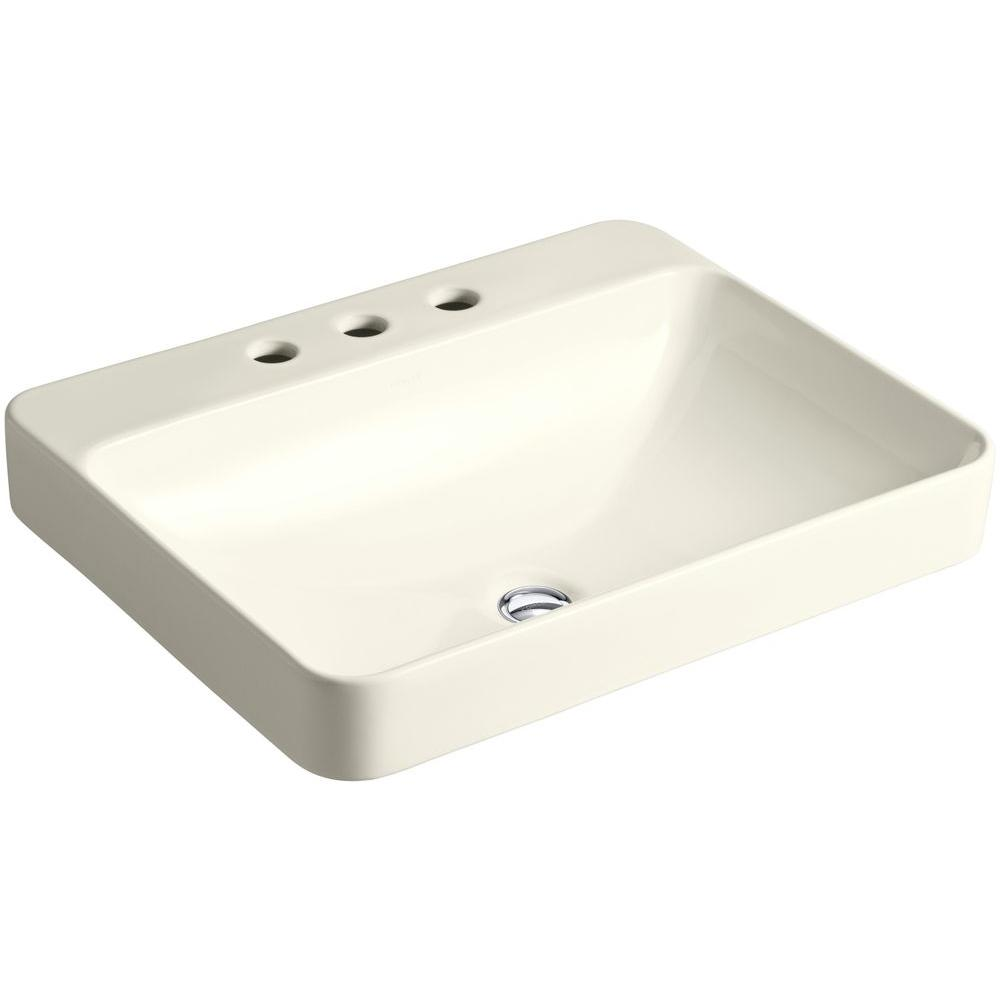 KOHLER Vox Rectangle Above Counter Vitreous China Vessel Sink In Biscuit  With Overflow Drain