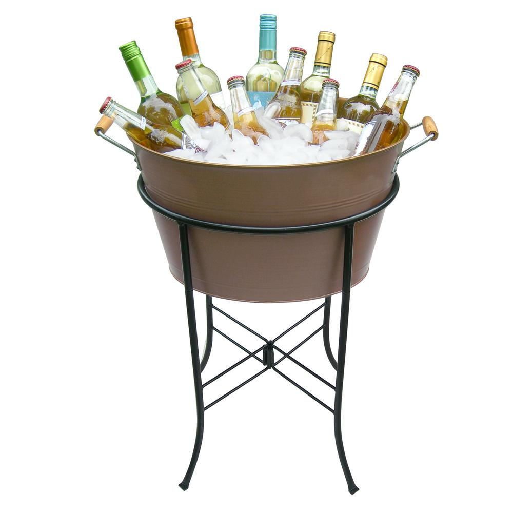 Artland Oasis Oval Party Tub Handles with Antique Copper Metal Stand Tub 17.75 in. L x 13.5 in. W x 10.25 in. H Tub