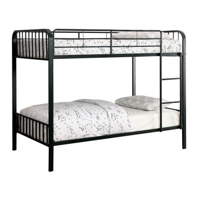 Clement Metal Twin Bunk Bed in Black