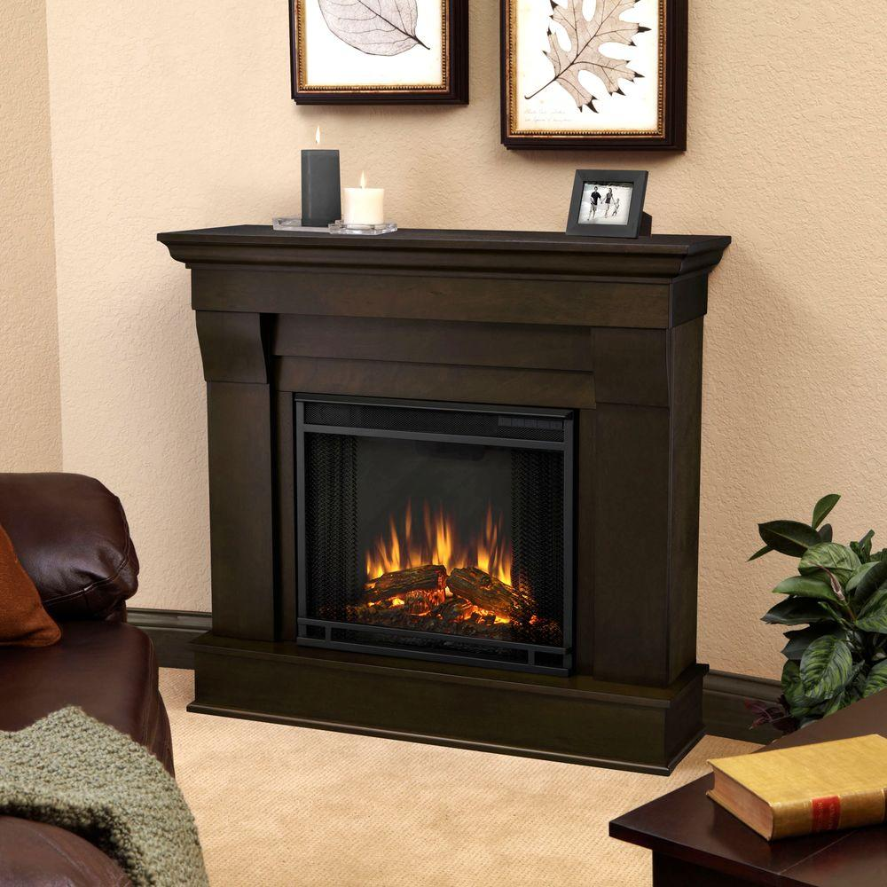 real flame chateau 41 in electric fireplace in dark walnut 5910e dw rh homedepot com walnut electric fireplace entertainment center walnut finish electric fireplace