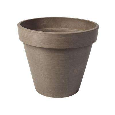 Valencia 14 in. Round Textured Taupe Polystone Band Planter