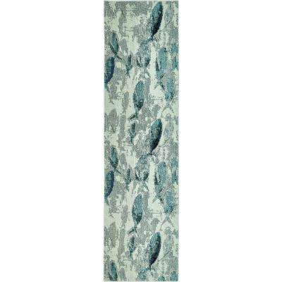 Positano Marooned Light Blue 2' 7 x 10' 0 Runner Rug