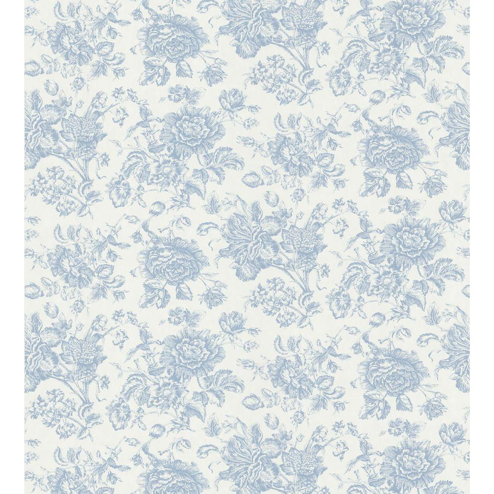 Brewster 56 sq. ft. Peony Toile Wallpaper-DISCONTINUED