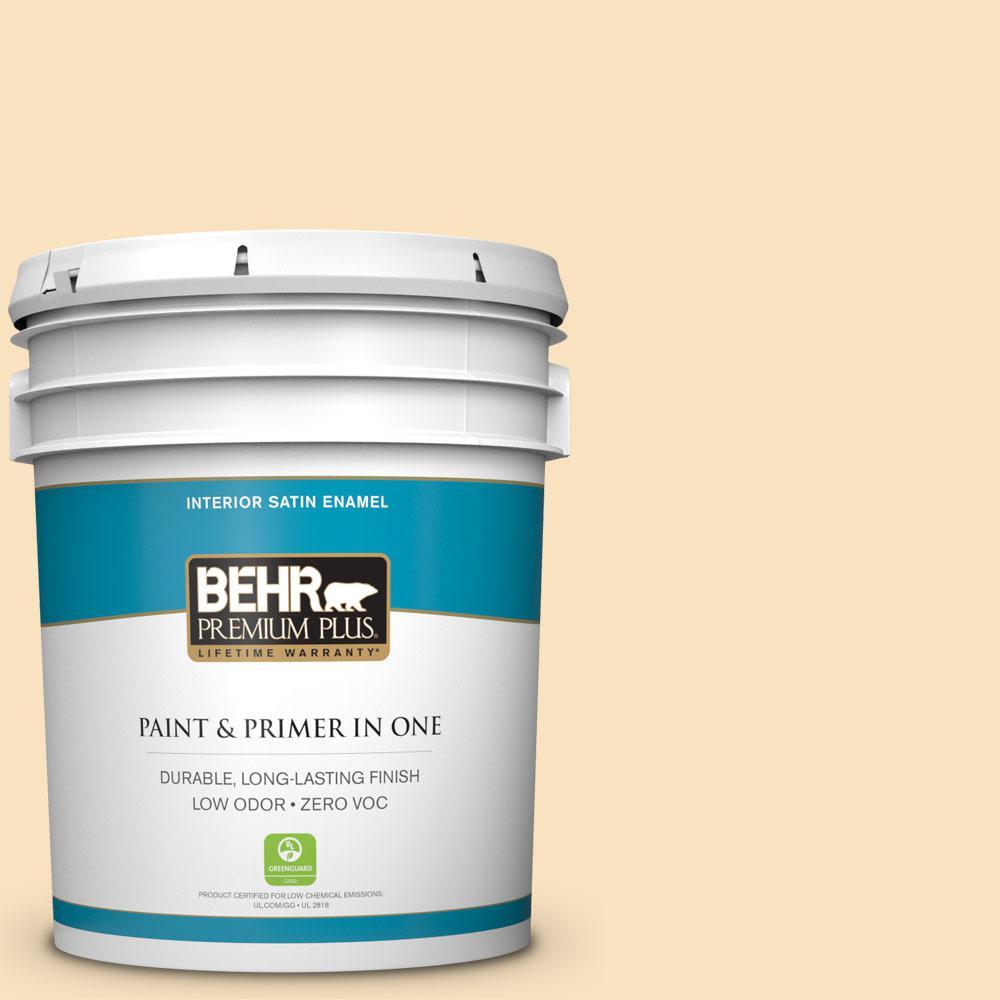 BEHR Premium Plus Home Decorators Collection 5-gal. #HDC-CT-03 Candlewick Zero VOC Satin Enamel Interior Paint