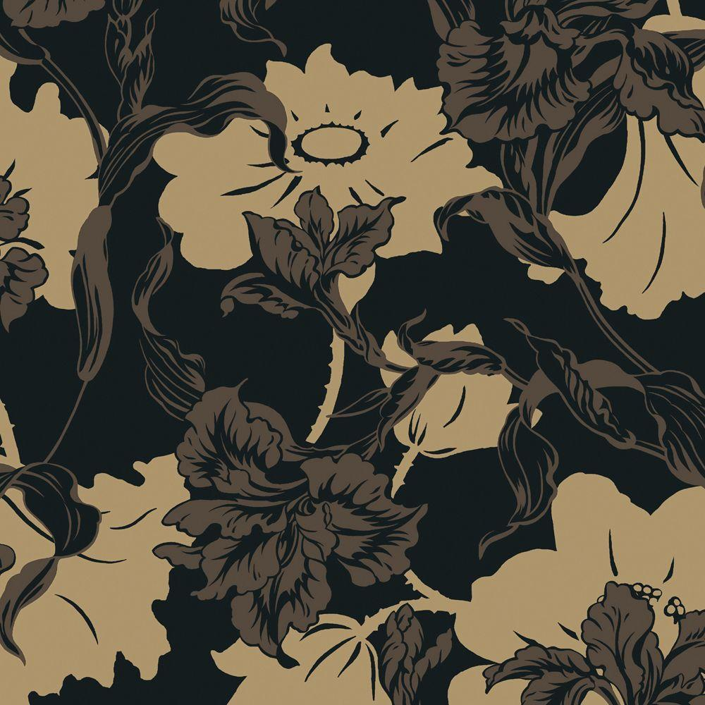 The Wallpaper Company 56 sq. ft. Charcoal and Nickel Large Floral Wallpaper