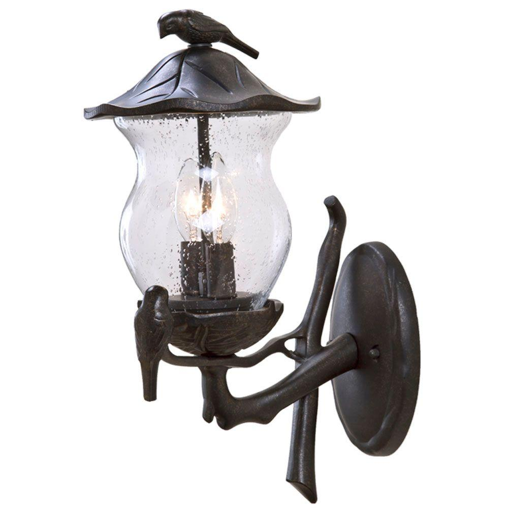 Acclaim Lighting Avian Collection Wall-Mount 2-Light Outdoor Black Gold Light Fixture