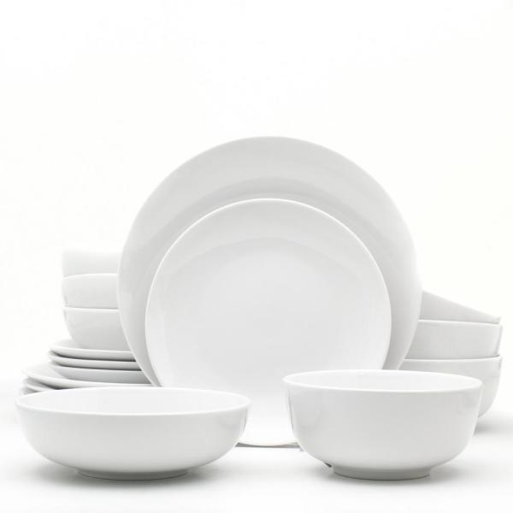 Euro Ceramica Essential 16-Piece White Dinnerware Set WHT-868160