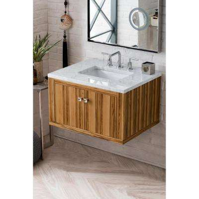 Silverlake 30 in. Single Bath Vanity in Natural Apple Wood with Marble Vanity Top in Carrara White with White Basin
