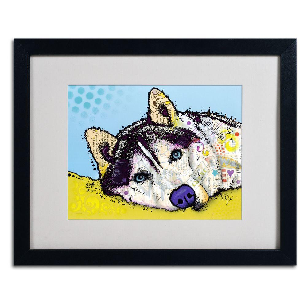 Trademark Fine Art 16 in. x 20 in. Siberian Husky II Matted Black Framed Wall Art