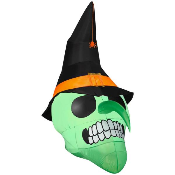 6 ft. Airblown-Green Witch Skull