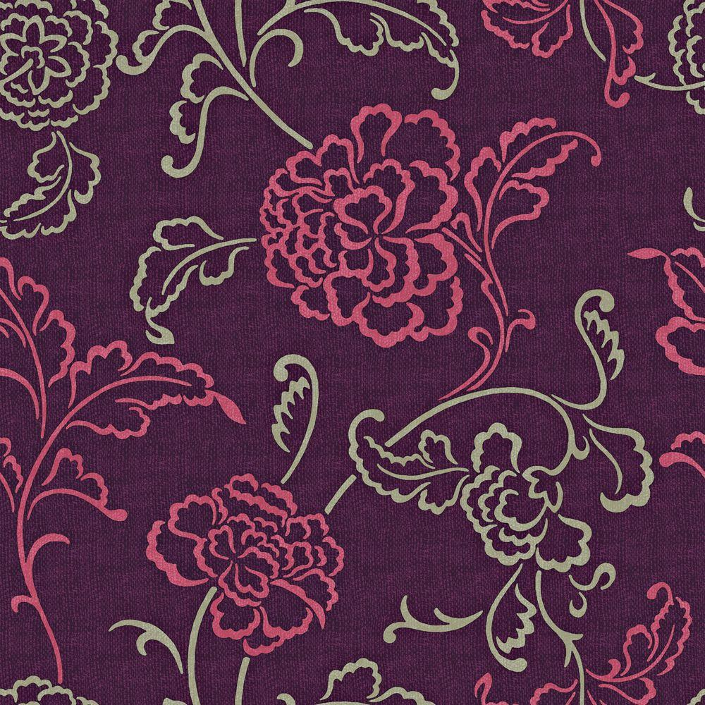 The Wallpaper Company 56 sq. ft. Purple, Magenta and Taupe Stylized Linear Leaf and Flower on a Woven Background Wallpaper