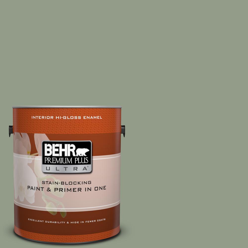 1 gal. #430F-4 False Cypress Hi-Gloss Enamel Interior Paint
