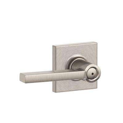 Latitude Satin Nickel Privacy Bed/Bath Door Lever with Collins Trim